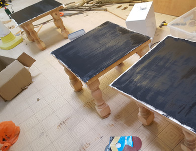 Three glowing resin tables here. We actually made a video of this