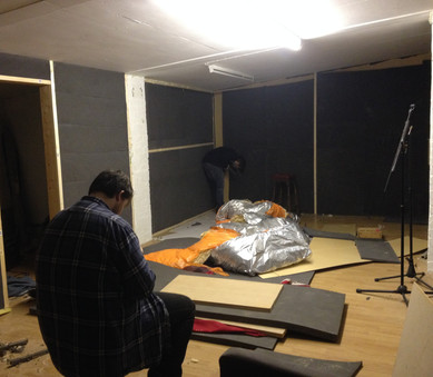 Some of the sound-proofing is in now, courtsy of our mate Dave