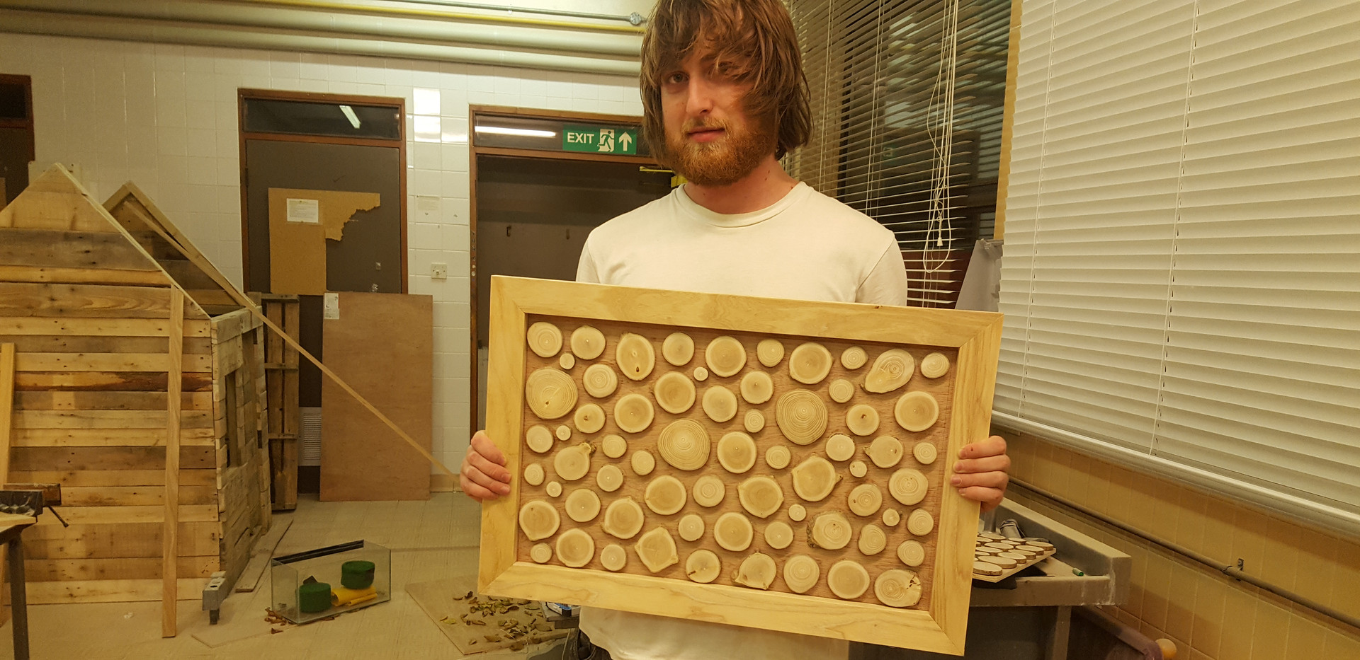 "Felix with our ""Wild-wood wall art"", who doesn't like saying that out loud? This one just before the resin went in"