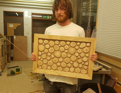 """Felix with our """"Wild-wood wall art"""", who doesn't like saying that out loud? This one just before the resin went in"""
