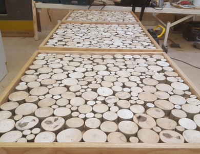 Tables before the resin pour. To make all these tables I found 150 lengths of ash on gumtree. A carpeter was selling them as they were unused from an architrave job that fell-through.