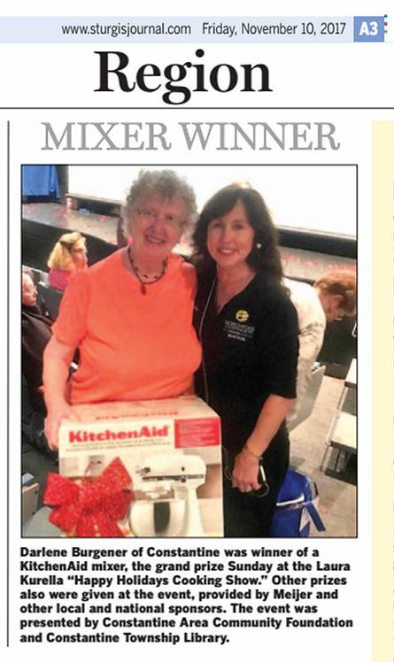 Kurella gives away Kitchen Aid mixer to Darlene Burgerner