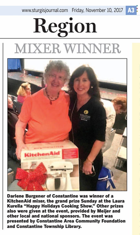 Kurella gives away Kitchen Aid mixer to Darlene Burgerner