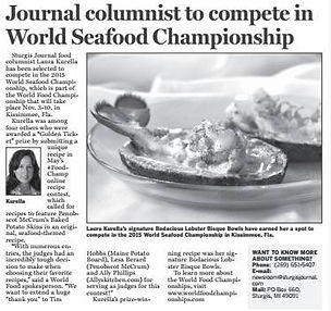 Kurella to compete in World Seafood Championship