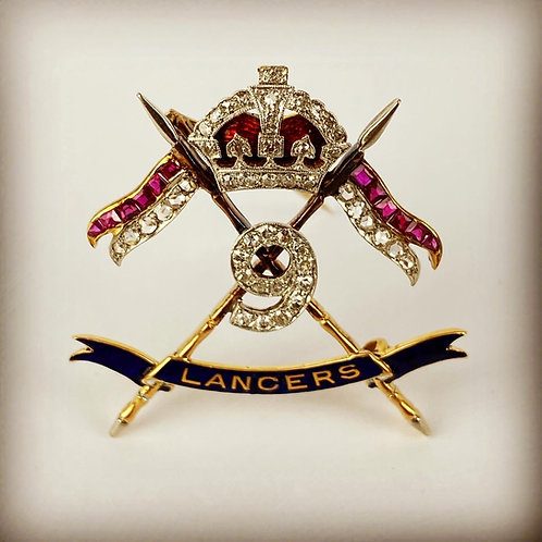 9th Queens Royal Lancers Sweetheart Brooch