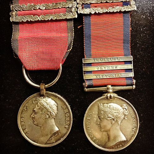 Waterloo & MGS Medals to a Officer of the Kings 15th Lt Dragoons