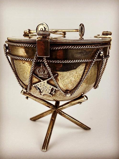 15th Hussars Regimental Silver Kettle Drum Inkwell