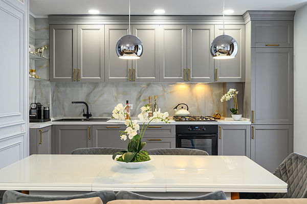 Grey and white contemporary classic kitc