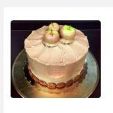 Caramel Cake topped with Lady Apples
