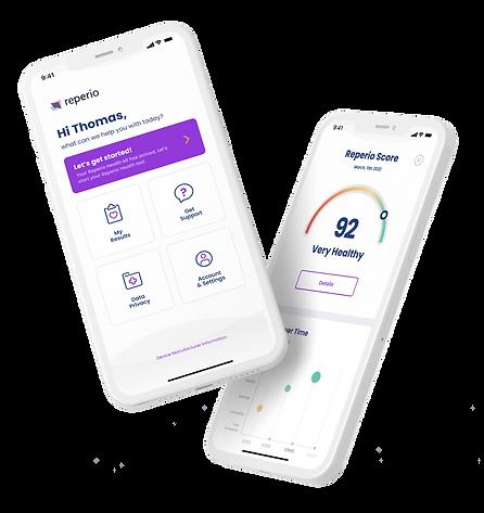 Image of smartphones displaying Reperio score and menu