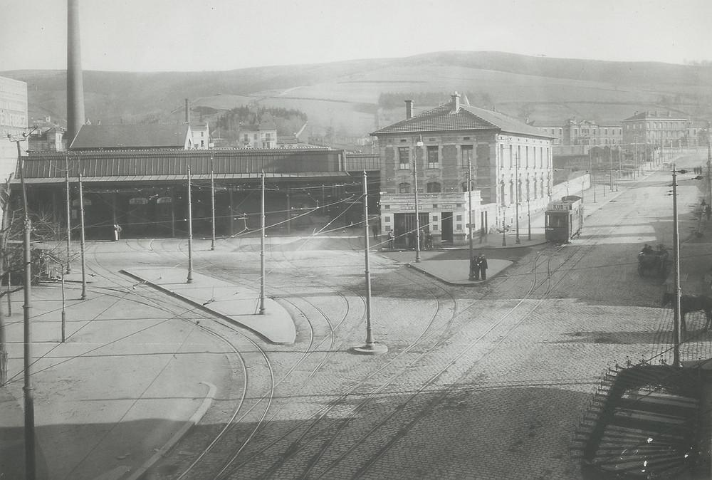 Dépôt CFVE de Bellevue, 1912, motrice H de tramway