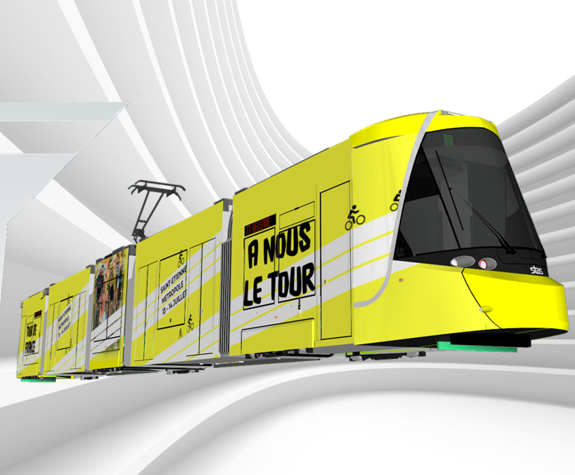 Rame de tramway stéphanois du Tour de France 2019 reconstituée en 3D
