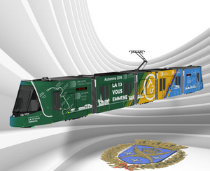 La rame La T3 vous Emmène, un tramway aux couleurs de Saint-Etienne