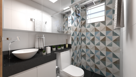 Banheiro geométrico