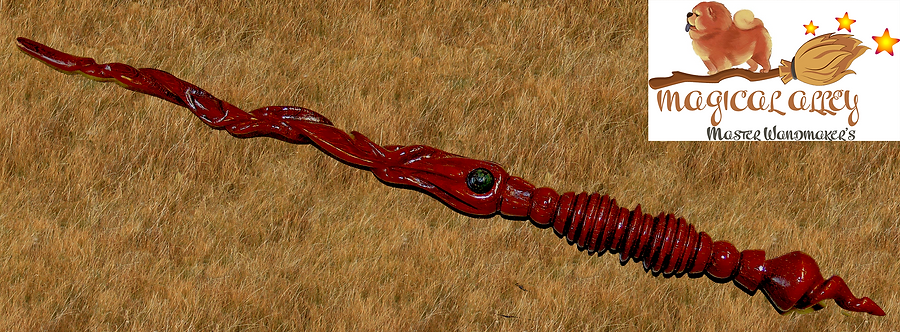 Unique Hand Carved Padauk Wand