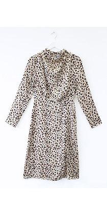 Cream Leopard Print High Neck Draped Midi Dress