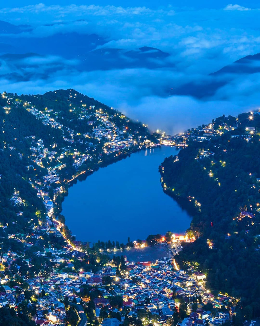 Night view of Nainital city.