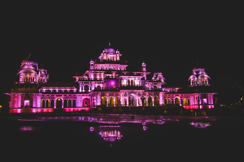 Night view of palace in Rajasthan.