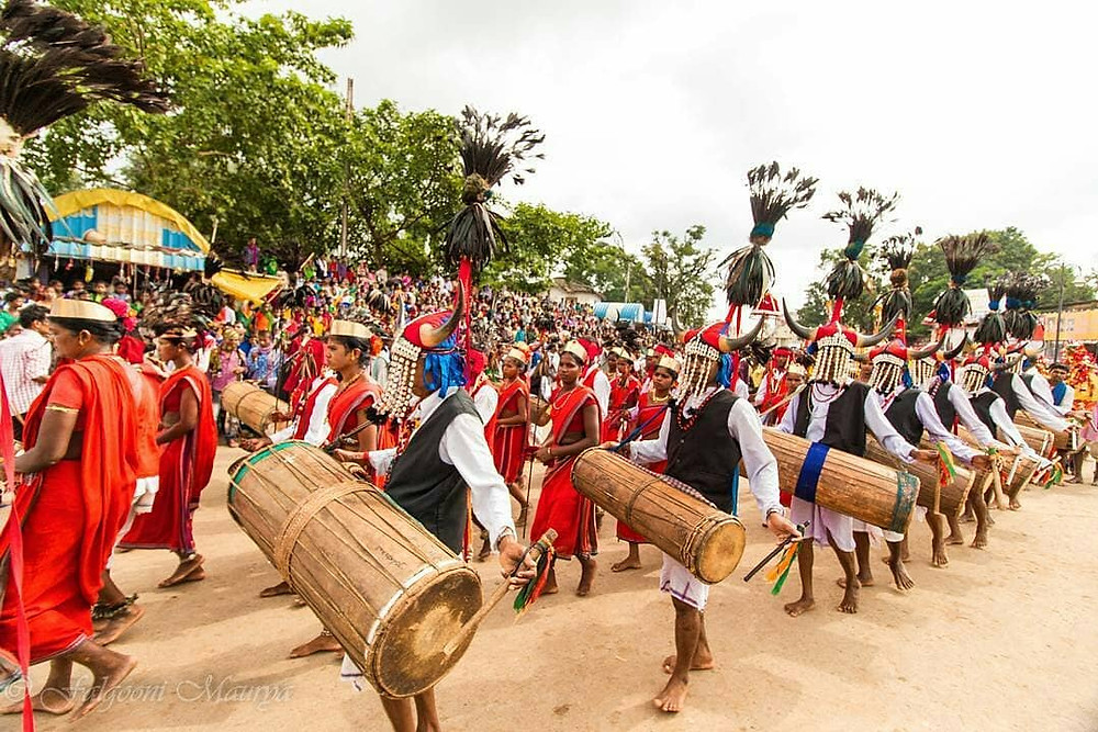 Cultural music and dance performance at Bastar Dussehra.
