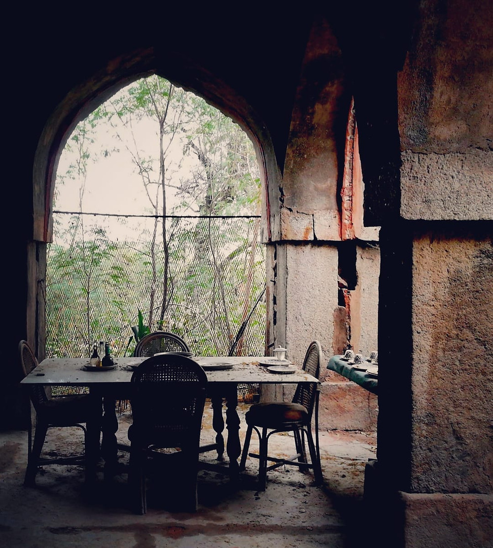Dining table set inside the Malcha Mahal.
