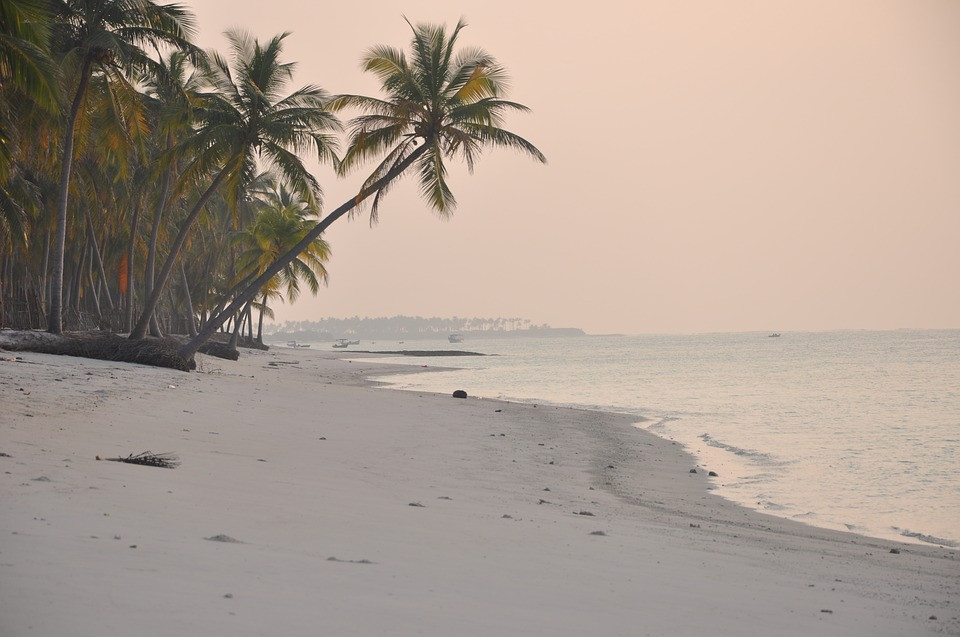 A picturesque view of beach at  Lakshadweep .