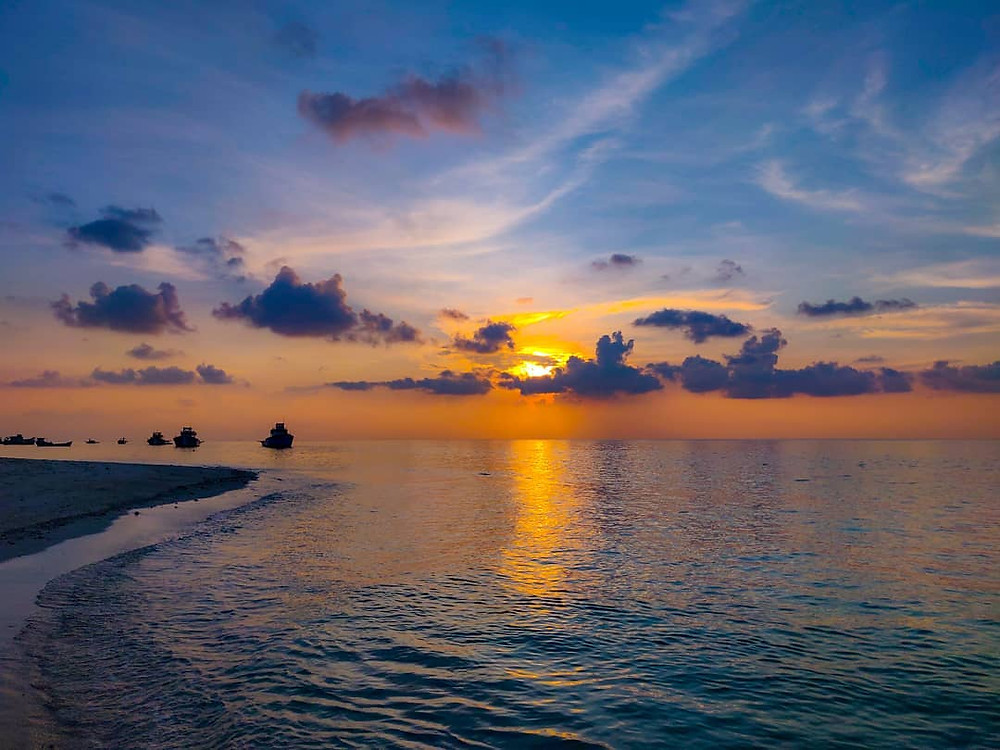 Lovely sunset at Lakshadweep beach.