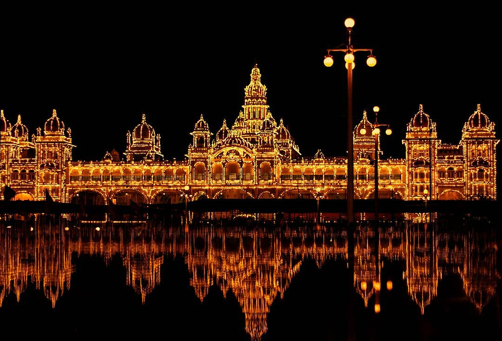 Mysore Palace decked up for Dussehra.