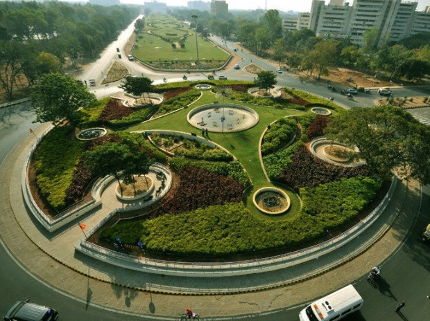 Aerial view of Gandhinagar.