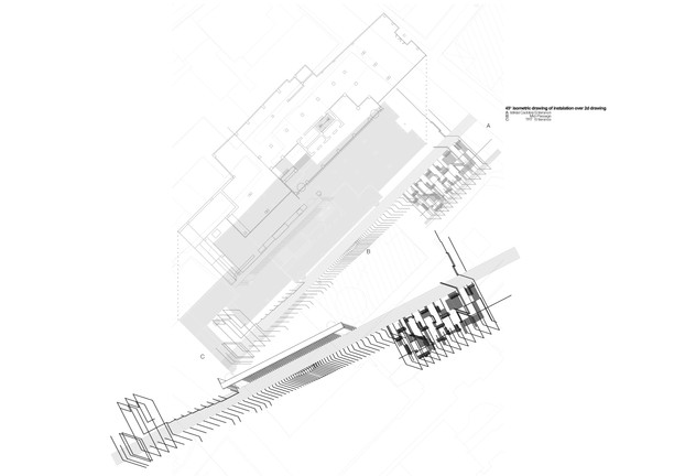 45o  isometric drawing of the instalation over 2d drawing