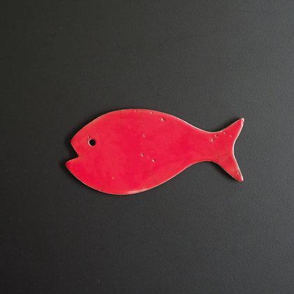 """Red """"Raku"""" magnet fish"""