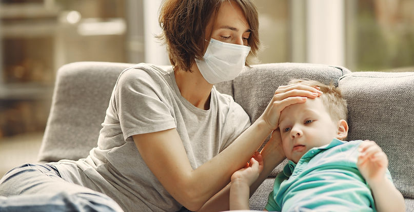 mother-checking-his-son-if-he-has-fever-