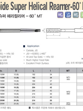 Carbide Super Helical Reamer-60 MT