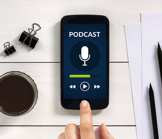 Podcast concept on smart phone screen wi