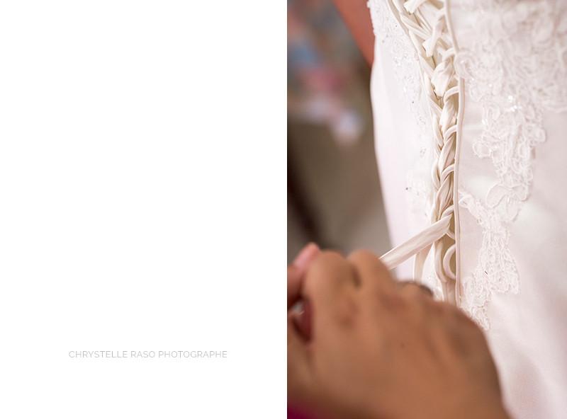 Détail de la robe de mariée