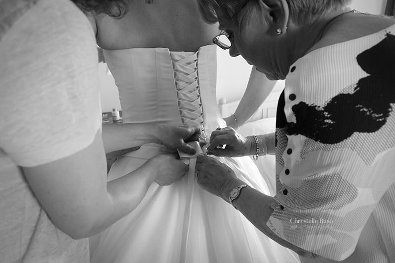 habillage de la mariée ruban