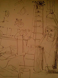 Me in my studio - quick sketch by my dear Dad