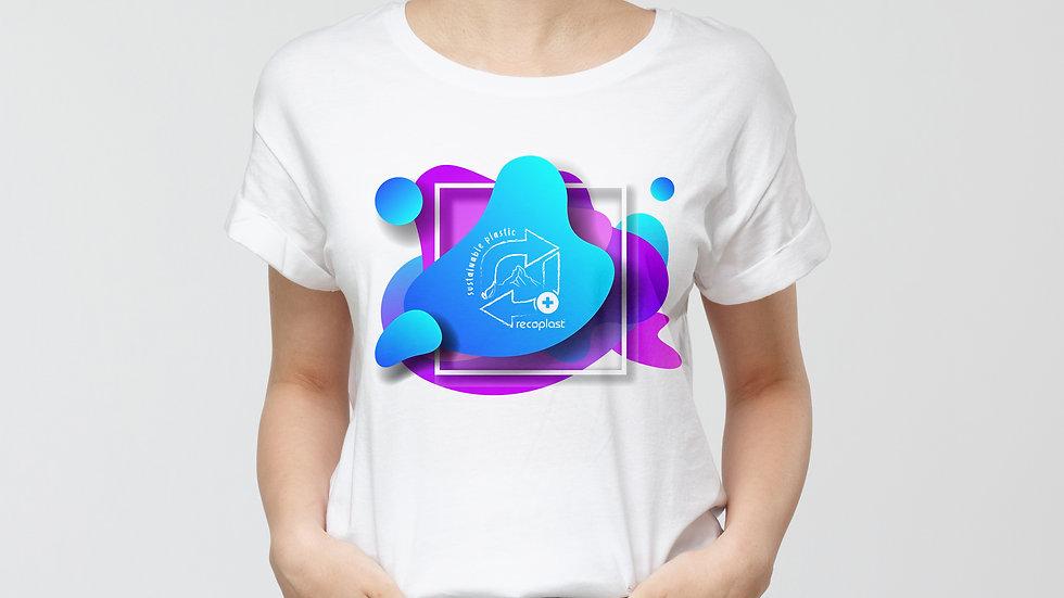 Damen Baumwoll T-Shirt - Blue Sustainable Plastic
