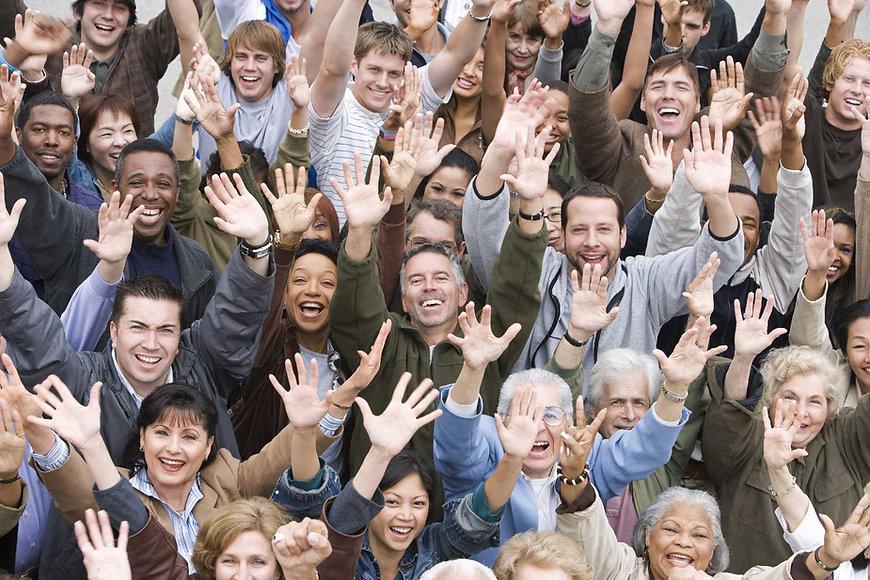 Juichende menigte