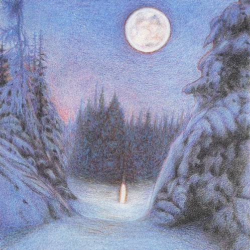 Christmas Night - Pastels & Colour Pencils on paper - Original