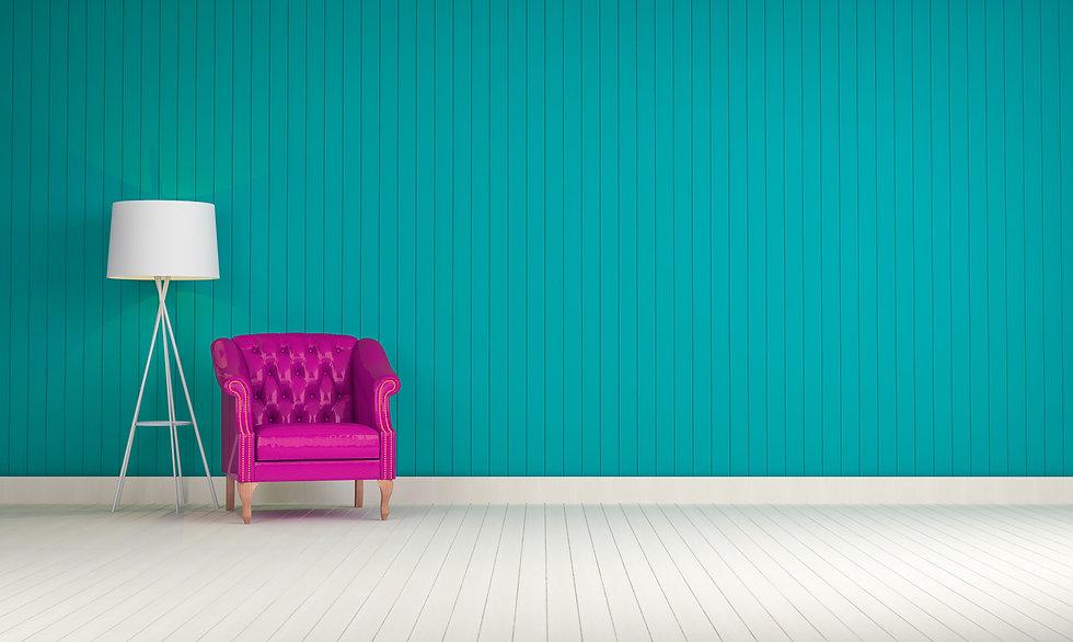 Purple vintage sofa on the room green wa