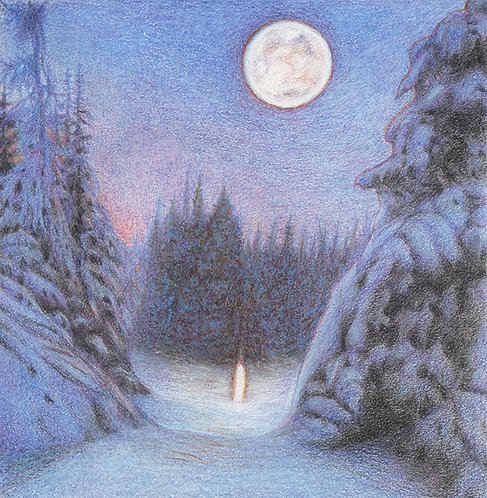"""""""Christmas Night"""" Pastels & Colour Pencils on paper"""