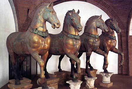 """The Four Horses inside St. Mark's Basilica in Venice"""