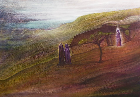 """""""I Like the Angel of this House"""" Oil, Colour pencils & pastels on paper"""