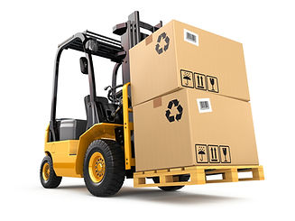 Forklift truck with boxes on pallet. Car
