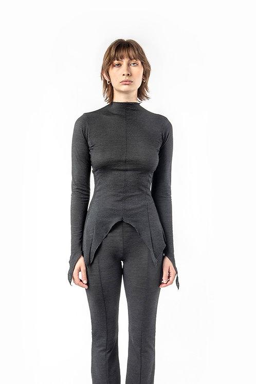 KA - HE - Web Merino Top - Charcoal Stripe
