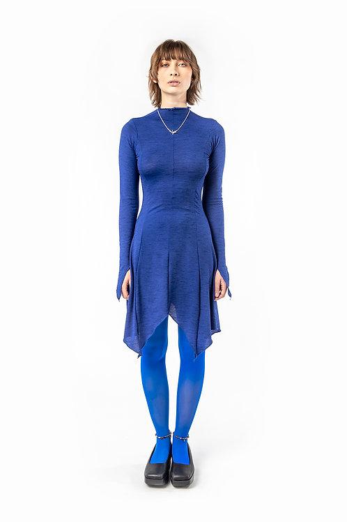 KA - HE - Web Merino Dress - Blue Stripe