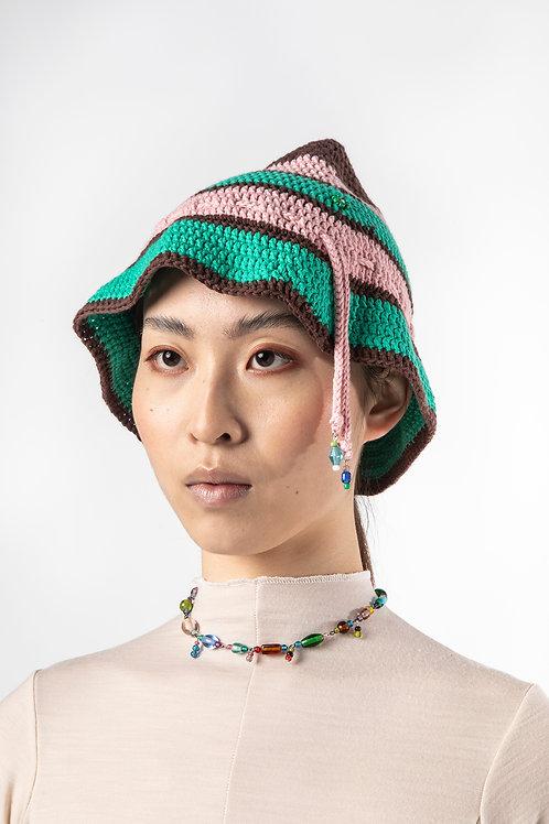 POMS- Millefiori Hat, Pink and Green Stripe