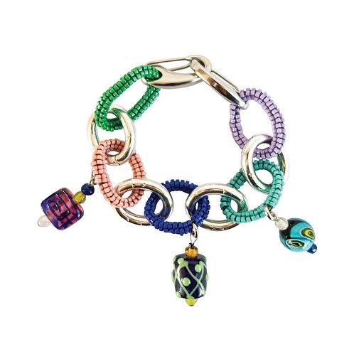 POMS- Beaded Link Charm Bracelet