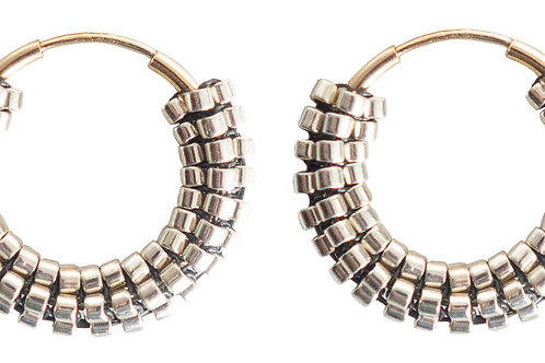 POMS- Silver Hoops