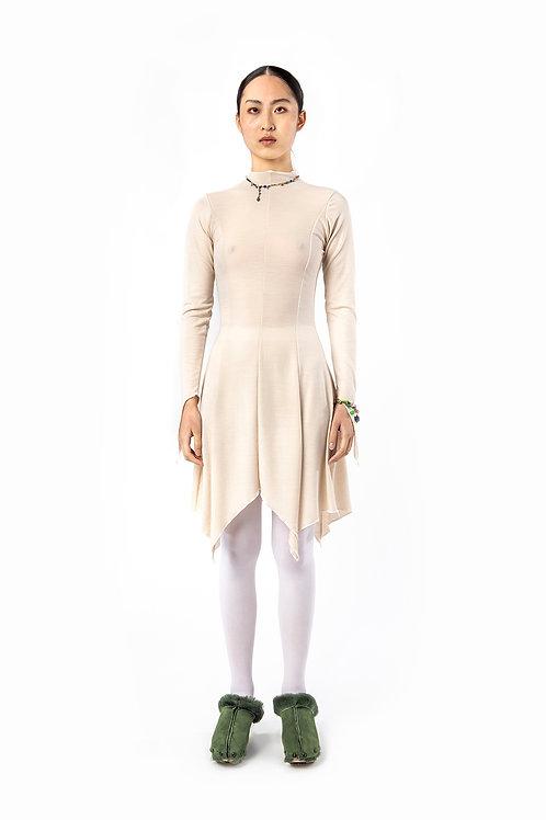 KA - HE - Web Merino Dress - Ivory